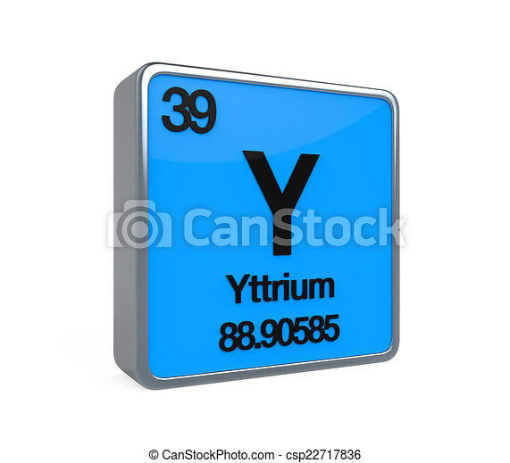 Yttrium Element Periodic Table Isolated On White Background 3d Render