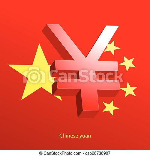 Yuan Currency 3d Symbol On A Red Background Vector Clipart Search