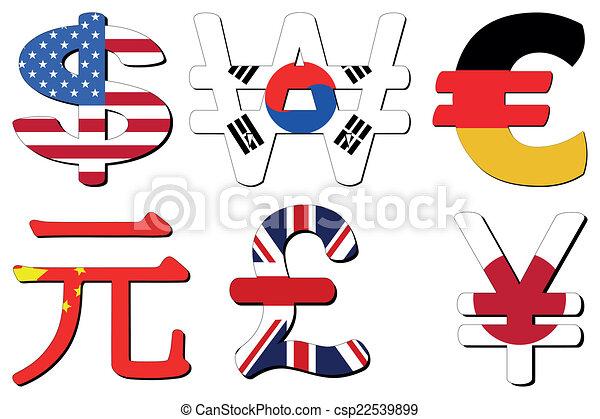 Yuan Yen Euro Symbol American Dollar Korean Won German Euros