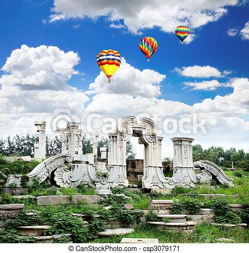 yuanmingyuan, ruines, palais - csp3079171