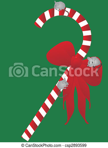 Yuletide candycane with 3 mice... - csp2893599