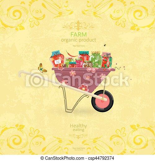 Shabby-Chip-Banner mit leckeren, gegurgelten Lebensmitteln auf Retro Wheelbarrow - csp44792374