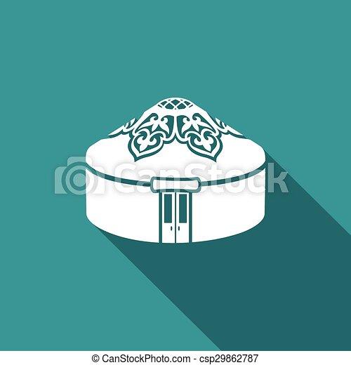 yurt, icon., μικροβιοφορέας , illustration. - csp29862787