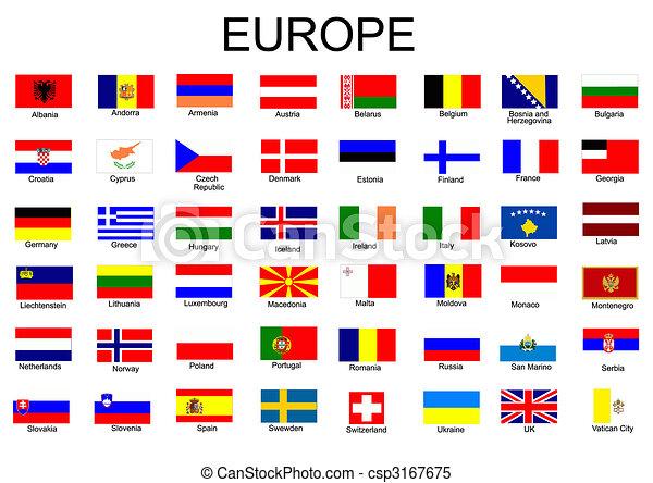 zászlók, minden, európai, lista, ország - csp3167675