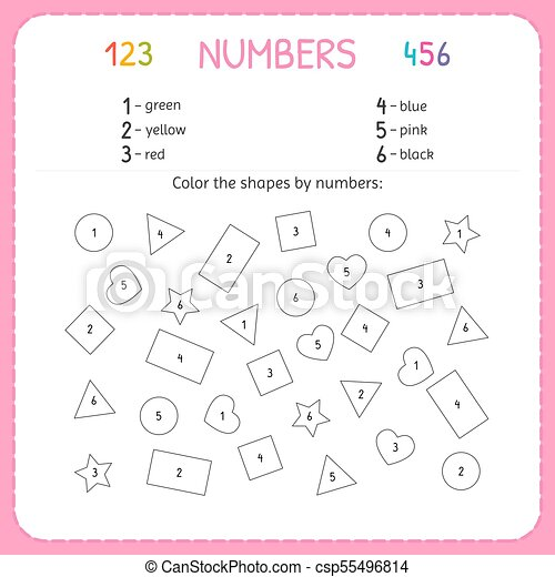 Zählen, preschool., training, farbe, arbeitsblatt, numbers ...