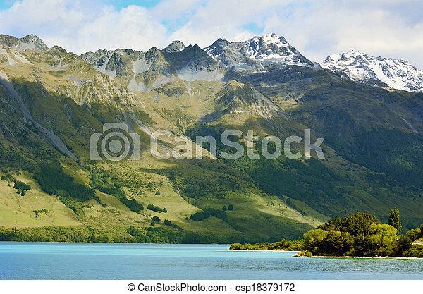 zélande, lac, nz, wakatipu, nouveau, nzl - csp18379172