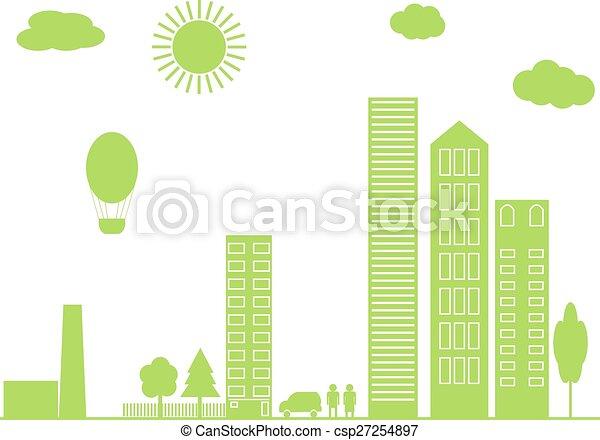 zöld, vektor, city., illustration. - csp27254897