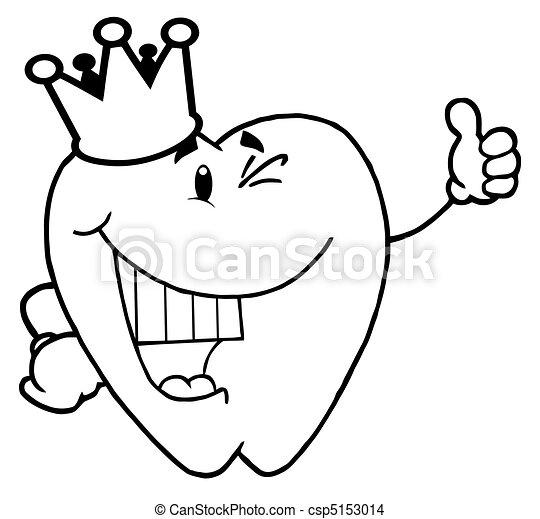 ząb, chodząc, korona, szkic - csp5153014