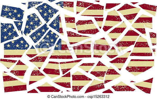 złamany, amerykanka, wektor, ilustracja, flag. - csp15263312