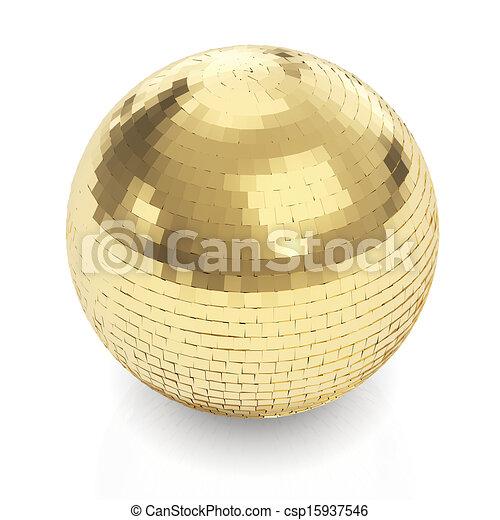 złoty, biała piłka, dyskoteka - csp15937546