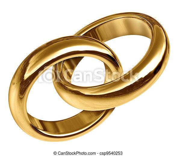 złoty, dzwoni, połączony, razem, ślub - csp9540253