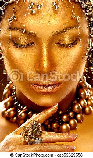 złoty, fason, sztuka, piękno, skin., portret, wzór, dziewczyna - csp53623558
