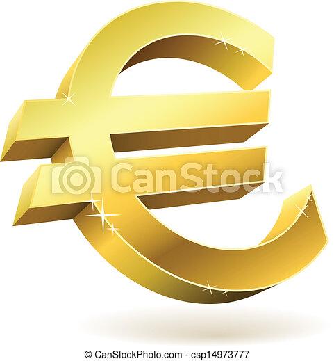 52a7c047d Złoty, illustration., odizolowany, znak, wektor, biały, euro, 3d.