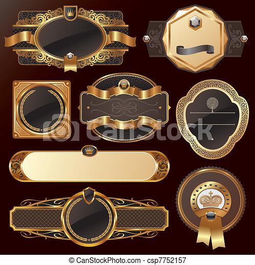 złoty, komplet, wektor, luksus, ozdobny, układa - csp7752157