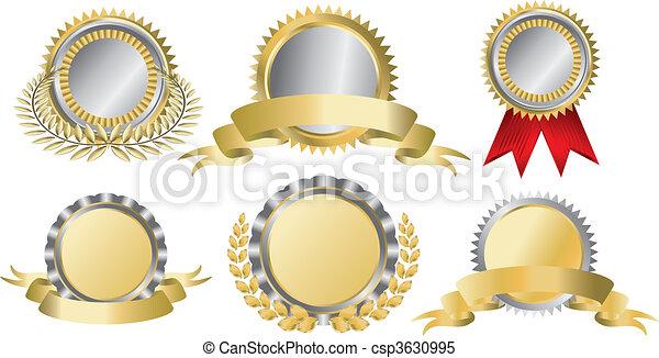 złoty, przyznawać wstążki, srebro - csp3630995