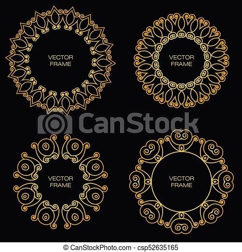 złoty, styl, komplet, szkic, ułożyć, cztery - csp52635165