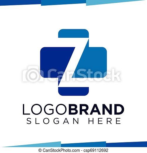 Z Initial Letter cross medical logo vector template - csp69112692
