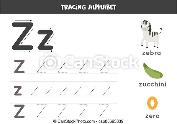 Z Is For Zebra, Zero, Zucchini. Tracing English Alphabet Worksheet. Tracing  All Letters Of English Alphabet. Preschool CanStock