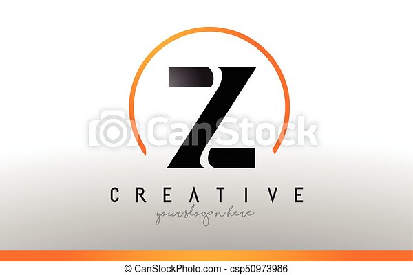 z letter logo design with black orange color cool modern icon template csp50973986