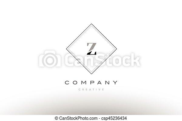 Z Retro Vintage Black White Alphabet Letter Logo Z Retro Vintage