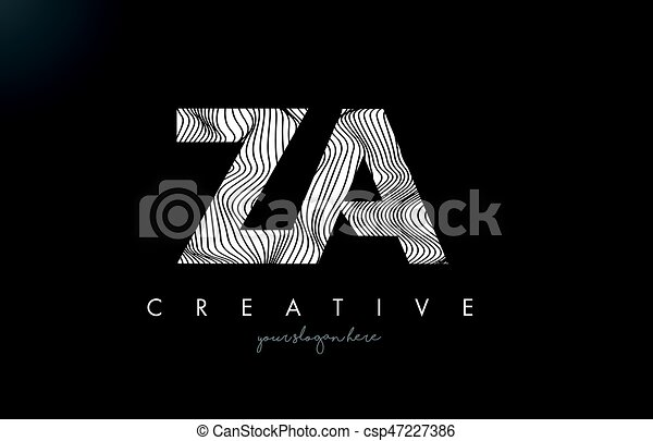 Line Design Clipart Free : Za z a letter logo with zebra lines texture design vector