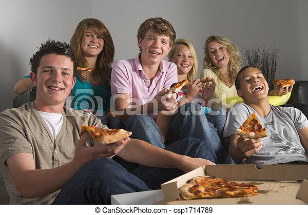 zabawa, pizza, jedzenie, nastolatki, posiadanie - csp1714789