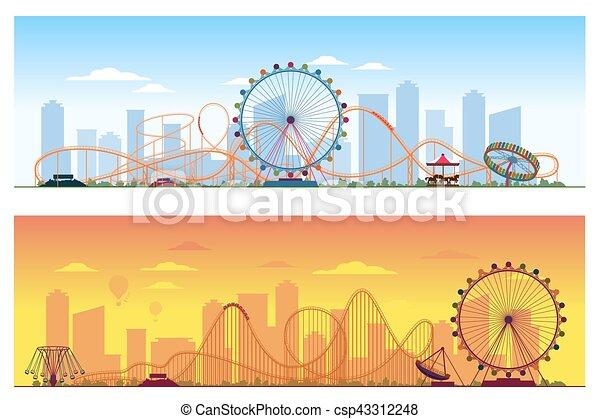 zabawny, barwny, ilustracja, concept., tło, zabawowy park, rozrywka, wektor, luna - csp43312248
