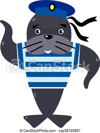 Zabawny, marynarz, znak. Zabawny, kamizelka, seal-sailor ...