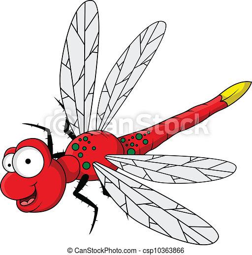zabawny, rysunek, czerwony, dragonfly - csp10363866