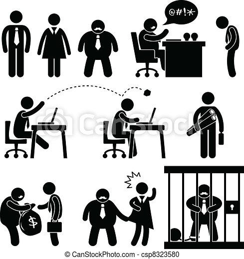 zabawny, szef, handlowe biuro, ikona - csp8323580