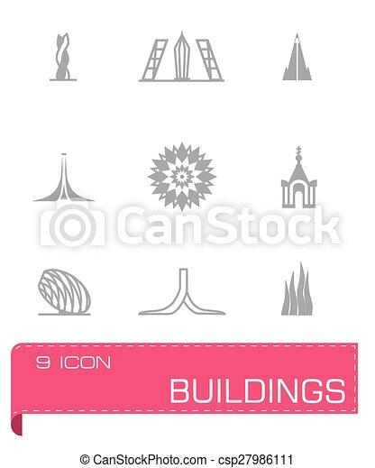 zabudowanie, wektor, komplet, ikona - csp27986111