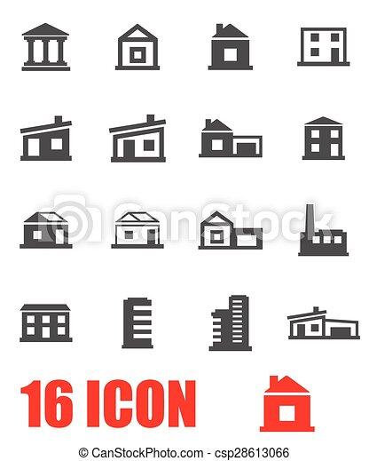 zabudowanie, wektor, komplet, szary, ikona - csp28613066