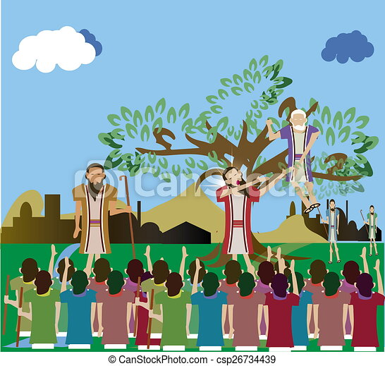 zacchaeus who climbed a tree to see luke 19 1 10 zacchaeus climbed rh canstockphoto com zacchaeus clipart black and white Printable Zacchaeus