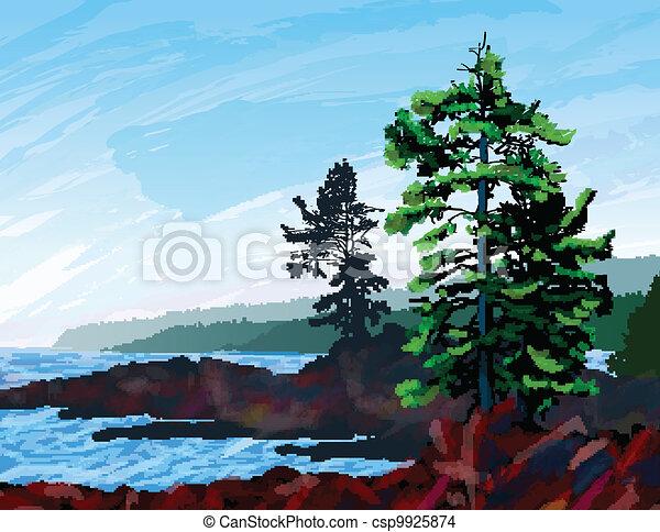 zachód, malarstwo, krajobraz, brzeg - csp9925874
