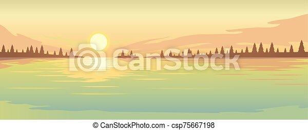 zachód słońca, jeziorowy las, coast., na, jodła - csp75667198