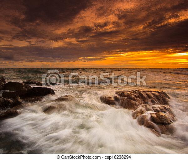 zachód słońca, trzęsie się, kasownik, krajobraz, morze - csp16238294