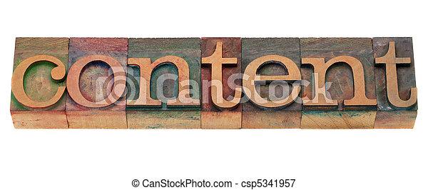 zadowolenie, słowo, typ, letterpress - csp5341957
