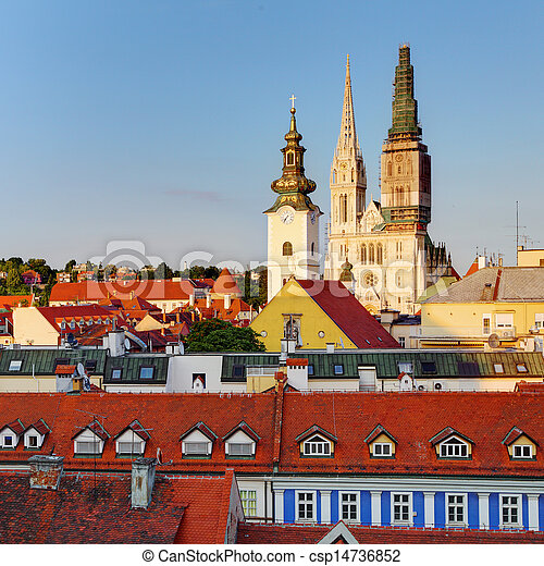 Zagreb, cathedral in Croatia - csp14736852