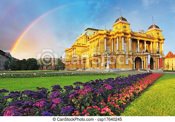 Zagreb - Croatian National Theate - csp17640245