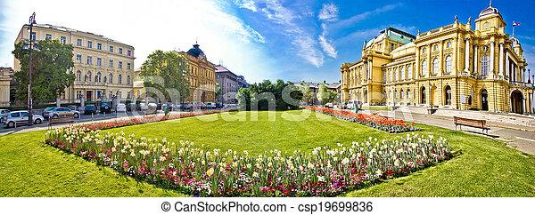 Zagreb theater square panoramic view - csp19699836