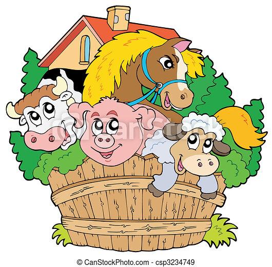 zagroda, grupa, zwierzęta - csp3234749