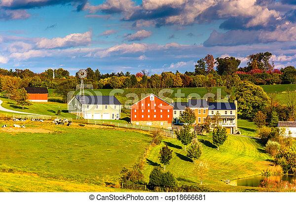 zagroda, hrabstwo, pennsylvania., domy, york, wiejski, stodoła, prospekt - csp18666681