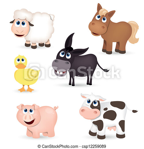zagroda, wektor, zwierzęta - csp12259089