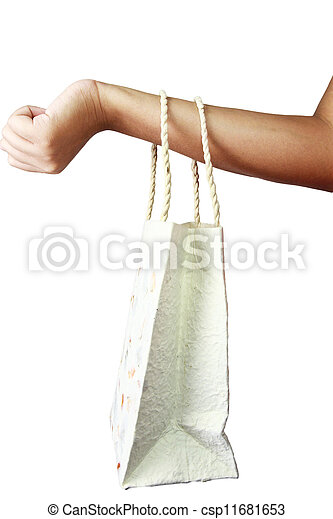 zak, hand., papier, ambacht, gerecyclde - csp11681653