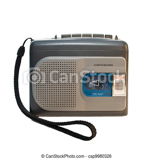zak, opname, recorder., vrijstaand, witte , achtergrond. - csp9980326