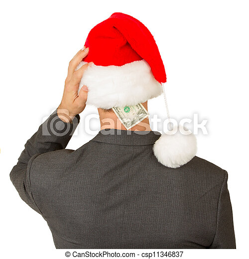 zakelijk, begroting, santa, hoedje, kerstman, crisis, man - csp11346837