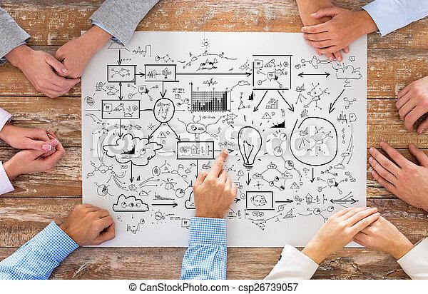 zakelijk, benadrukkend, team, afsluiten, plan - csp26739057