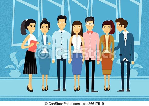zakelijk, groep, aziaat, werkkring mensen - csp36617519