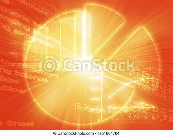 zakelijk, spreadsheet, illustratie, diagrammen - csp1864784
