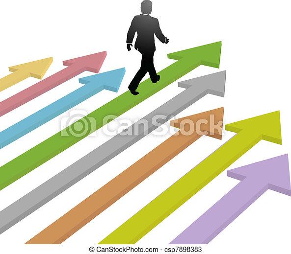 zakelijk, toekomst, richtingwijzer, wandelingen, voortgang, leider - csp7898383